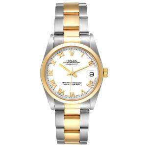 Rolex White 18K Yellow Gold And Stainless Steel Datejust 78243 Women's Wristwatch 31 MM