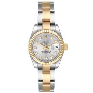 Rolex Silver Diamonds 18K Yellow Gold And Stainless Steel Datejust 179173 Automatic Women's Wristwatch 26 MM