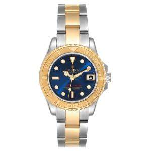 Rolex Blue 18K Yellow Gold And Stainless Steel Yachtmaster 169623 Women's Wristwatch 29 MM