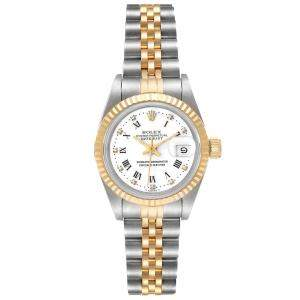 Rolex White Diamonds 18K Yellow Gold And Stainless Steel Datejust 69173 Women's Wristwatch 26 MM