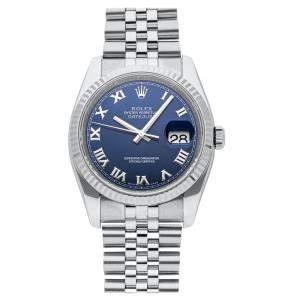 Rolex Blue Stainless Steel Datejust 116234 Women's Wristwatch 36 MM