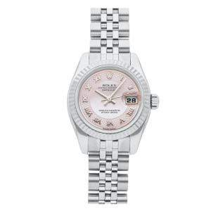 Rolex MOP 18K White Gold And Stainless Steel Datejust 179174 Women's Wristwatch 26 MM