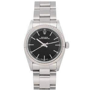 Rolex Black Stainless Steel Oyster Perpetual 77014 Women's Wristwatch 31 MM