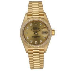 Rolex Champagne Diamonds 18K Yellow Gold Datejust 69178 Automatic Women's Wristwatch 26 MM