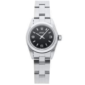 Rolex Black Stainless Steel Oyster Perpetual 67180 Women's Wristwatch 26 MM