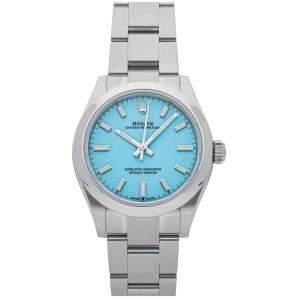 Rolex Blue Stainless Steel Oyster Perpetual 277200 Women's Wristwatch 31 MM