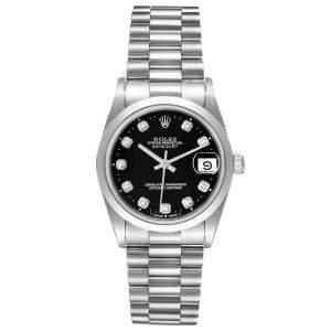 Rolex Black Diamonds Platinum President Datejust 68246 Women's Wristwatch 31 MM
