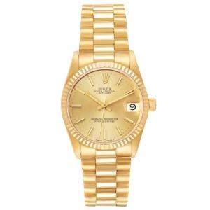 Rolex Champagne 18K Yellow Gold President Datejust 68278 Women's Wristwatch 31 MM