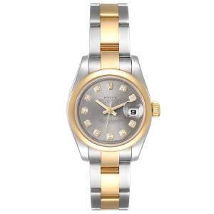 Rolex Grey Diamonds 18K Yellow Gold And Stainless Steel Datejust 179163 Women's Wristwatch 26 MM