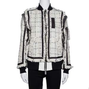 Sacai Monochrome Tweed Oversized Bomber Jacket S