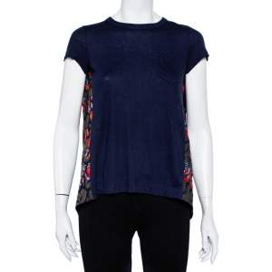 Sacai Navy Blue Cotton Knit & Lace Paneled T-Shirt S