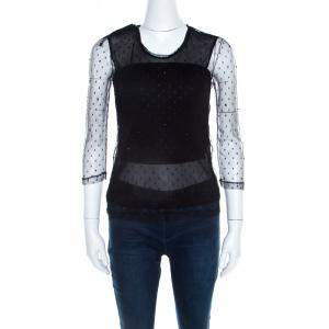 Saint Laurent Paris Black Bead Embellished Mesh Long Sleeve Top XS