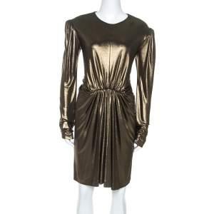 فستان سان لوران باريس تفاصيل خصر مجمع تريكو ستريتش ذهبي M