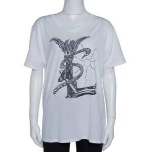 Saint Laurent Paris White Cotton Logo Printed T Shirt XL