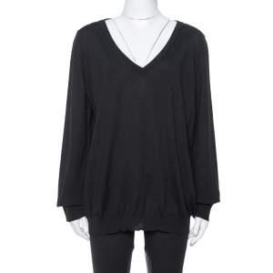 Saint Laurent Paris Black Wool V-Neck Sweater XXL
