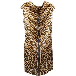Yves Saint Laurent Brown Leopard Printed Silk Satin Cowl Neck Detail Shift Dress S