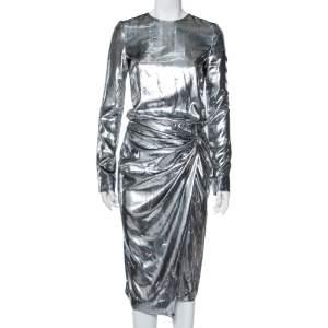 فستان سان لوران حرير لوريكس بديرابيه فضي وسط مزين مقاس صغير - سمول
