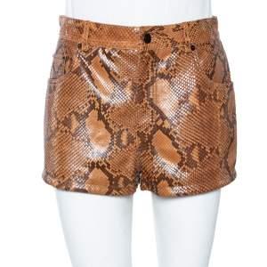 Saint Laurent Brown Python Skin High Waist Shorts M