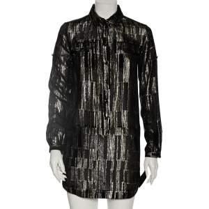 Saint Laurent Metallic Lurex Silk Flap Pocket Detail Mini Shirt Dress S