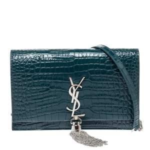 Saint Laurent Deep Green Croc Embossed Leather Kate Tassel Wallet on Chain