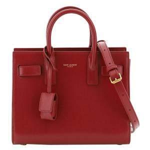 Saint Laurent Red Leather Nano Sac de Jour Bag