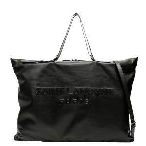 Saint Laurent Black Leather Convertible ID Tote Bag
