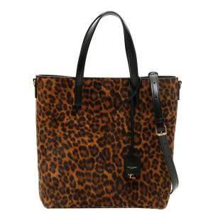 Saint Laurent Multicolor Leopard Print North/South Toy Shopping Bag