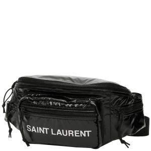 حقيبة حزام سان لوران شعار نايلون سوداء