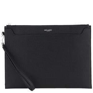 Saint Laurent Black Leather Catherine Tablet Holder Clutch