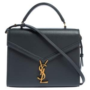 Saint Laurent Grey Leather Cassandra Top Handle Bag