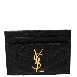 Saint Laurent Black Leather Monogram Card Holder