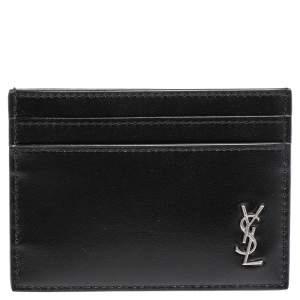 Saint Laurent Black Leather Tiny Monogram Card Holder
