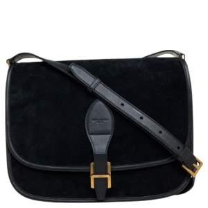 Saint Laurent Black Suede and Leather Medium Francoise Shoulder Bag
