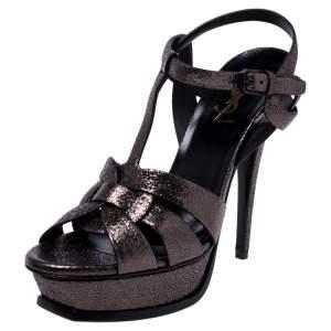 Saint Laurent Paris Metallic Grey Foil Leather Tribute Platform Ankle Strap Sandals Size 39