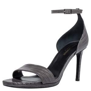 Saint Laurent Paris Grey Lizard Embossed Leather Jane Ankle Strap Sandals Size 39.5