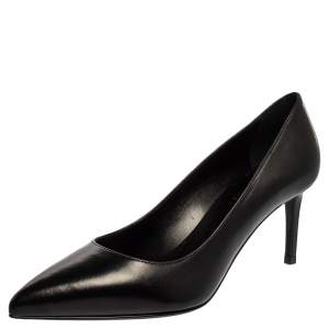 Saint Laurent Paris Black Leather Pointed Toe Pumps Size 37.5