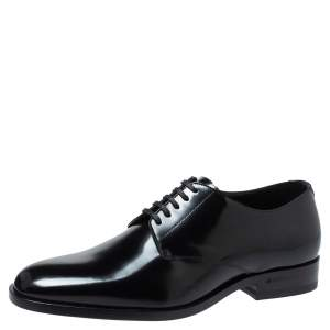 Saint Laurent Paris Black Leather Lace Up Oxfords Size 37.5