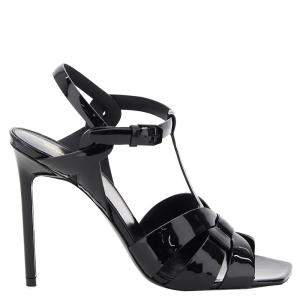 Saint Laurent Black Patent Leather Tribute Sandals IT 36