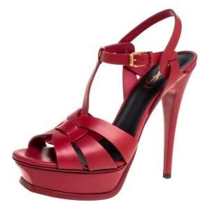 Saint Laurent Red Leather Tribute Platform Sandals Size 39.5
