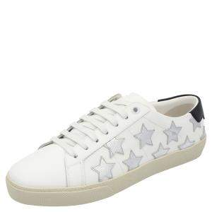 Saint Laurent White/Silver Leather Star Court Classic Metallic California Sneakers Size EU 38
