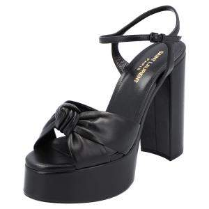 Saint Laurent Black Leather Bianca Sandals Size EU 37.5