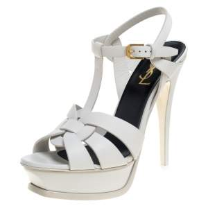 Saint Laurent Paris White Leather Tribute Platform Ankle Strap Sandals Size 38