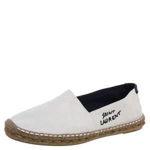 حذاء فلات إسبادريل سان لوران مطرز شعار الماركة كانفاس أبيض مقاس 42