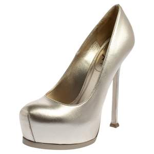 Saint Laurent Pale Gold Leather Tribtoo Platform Pumps Size 38