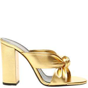 Saint Laurent Gold Leather Loulou 100 Mules Size EU 36