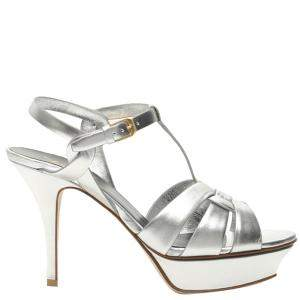 Saint Laurent Metallic Silver Leather Tribute Sandals Size IT 36