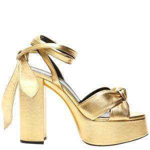 Saint Laurent Metallic Gold Leather Bianca Platform Sandals Size IT 36