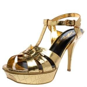 Saint Laurent Gold Textured Leather Tribute Platform Ankle Strap Sandals Size 41