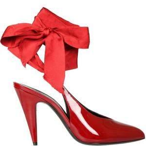 Saint Laurent Red Patent Leather Venus Ankle-Wrap Pumps Size IT 38.5