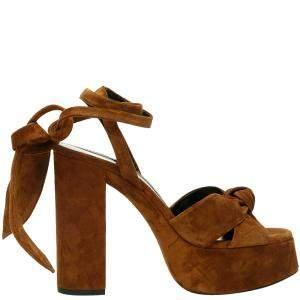 Saint Laurent Brown Suede Bianca Platform Sandals Size IT 39